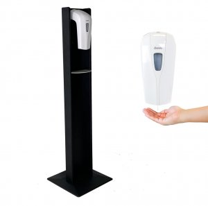 DMD Hand Sanitizer Dispenser Floor Stand, Black Wood Finish with Automatic Dispenser