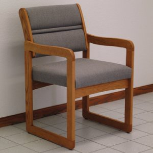 Office Waiting Room Guest Chair - Medium Oak - Charcoal Grey