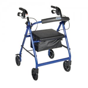 8 Inch Caster Rollator with Fold Up and Removable Back Support - Blue