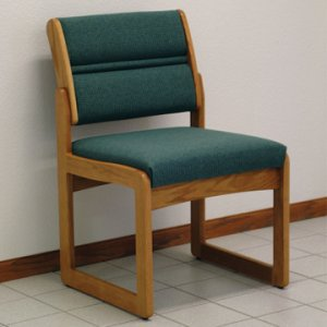 Reception and Waiting Room Armless Guest Chair - Medium Oak - Foliage Green