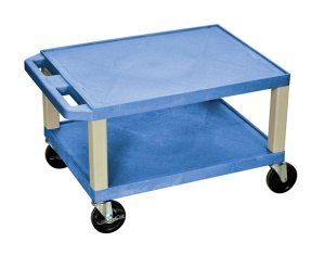 16 Inch 2 Shelf Mobile Colored Plastic Utility Cart w Electrical