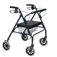 Bariatric Rollator with Padded Seat and Loop Locks - Blue