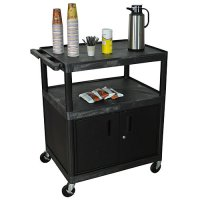 Large Kitchen Serving Coffee Cart with Locking Cabinet