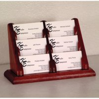 6 Pocket Countertop Business Card Holder - Mahogany