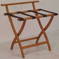 Medium Oak Luggage, Suitcase, or Briefcase Rack - Brown Straps