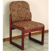 Office Waiting Room Armless Guest Chair - Mahogany - Watercolor Rose