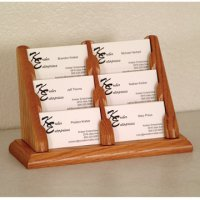 6 Pocket Countertop Business Card Holder - Medium Oak