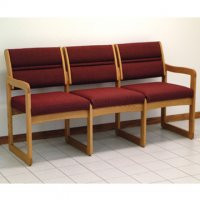 Office Waiting Room Three Seat Sofa - Medium Oak - Cabernet Burgundy