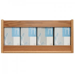 4 Pocket Glove/Tissue Box Holder - Rectangle - Light Oak