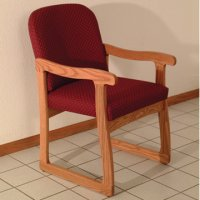 Office Waiting Room Guest Chair - Medium Oak - Arch Wine
