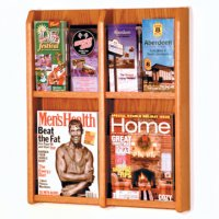 4 Magazine/8 Brochure Wall Display with Brochure Inserts - Medium Oak