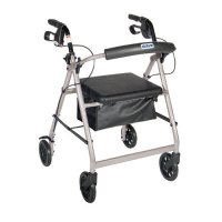 6 Inch Caster Rollator with Fold Up and Removable Back Support -Silver