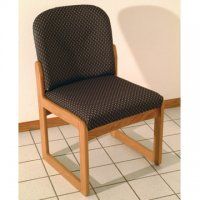 Office Waiting Room Armless Guest Chair - Medium Oak - Arch Slate
