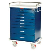 8 Drawer Specialty Medical Anesthesia Cart - Top Rail / Push Handle