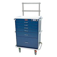 6 Drawer Specialty Medical Anesthesia Cart - Raised Back Rail System