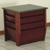 End Table with Magazine Pockets w/Black Granite Look Top - Mahogany