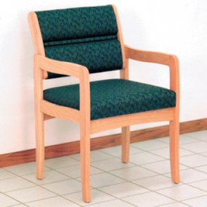 Office Waiting Room Guest Chair - Light Oak - Leaf Green