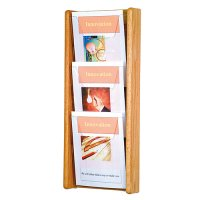 3 Pocket Oak and Acrylic Wall Mount / Literature Display Rack