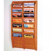 14 Pocket Wall Mount Magazine Rack - Medium Oak
