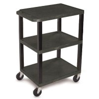 34 Inch Black Open Shelf Plastic Utility Supply Cart - WT34S-B