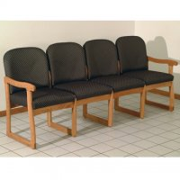 Office Waiting Room Four Seat Sofa - Medium Oak - Arch Slate