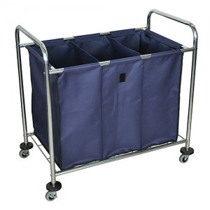 Industrial Rolling Laundry Utility Cart with Dividers - Navy HL15