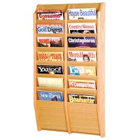 14 Pocket Wooden Wall Mount / Display Magazine or Literature Rack