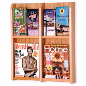 4 Magazine/8 Brochure Wall Display with Brochure Inserts - Light Oak