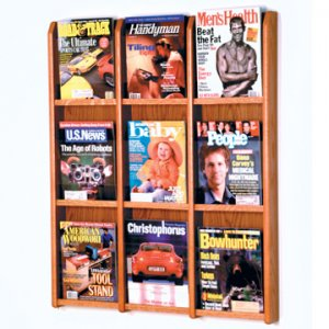 9 Magazine Wall Display - Medium Oak