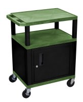 34 Inch 3 Shelf Plastic Rolling Utility (Service) Cart Black Cabinet