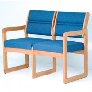 Office Waiting Room Two Seat Sofa - Light Oak - Powder Blue