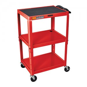 Red Adjustable Audio Visual (AV) Utility Cart With 3 Shelves