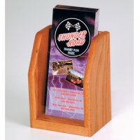 Countertop 1 Pocket Brochure Display - Medium Oak