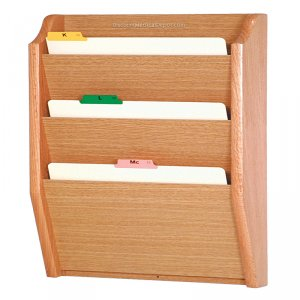 DMD Wood File Holder, Wall Mount 3 Pocket Legal Size, Light Oak Finish