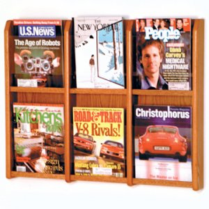 6 Magazine Wall Display - Medium Oak