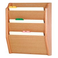 DMD Wood File Holder/Rack, Wall Mount 3 Pocket Legal Size, Light Oak Finish