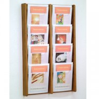 8 Pocket Oak and Acrylic Literature Wall Display Rack - Medium Oak