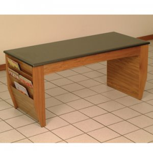 Coffee Table with Magazine Pockets w/Black Granite Look Top - Medium O