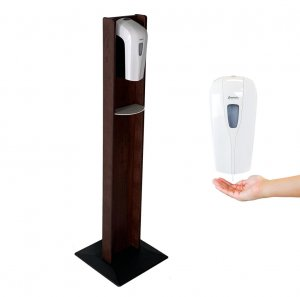 DMD Hand Sanitizer Dispenser Floor Stand, Mahogany Wood Finish with Automatic Dispenser
