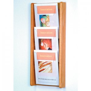 3 Pocket Solid Light Oak and Acrylic Literature Wall Display Rack