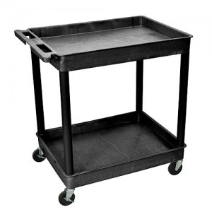 Mobile 2 Shelf Heavy Duty Plastic Utility Cart with Wheels