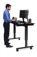 "60"" Electric Standing Desk with Black Frame and Black Oak Desktop"
