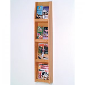 8 Pocket Literature Display - 4Hx2W - Light Oak