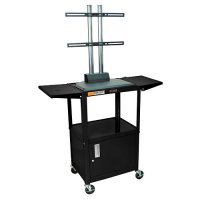 Black Adjustable Cabinet Cart With Flat Panel Mount - Drop Leaf Sides