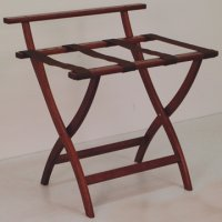 Mahogany Luggage, Suitcase, or Briefcase Rack - Brown Straps
