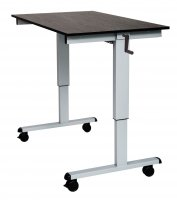 "DMD Adjustable Standing Desk, 48"" W, Sit or Stand Up Workstation, Black Oak, Silver Frame"