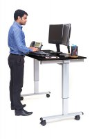 "60"" Electric Standing Desk with Silver Frame and Black Oak Desktop"