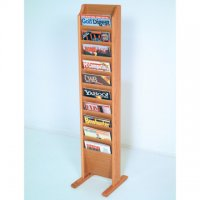 Free Standing 10 Pocket Magazine Rack - Light Oak