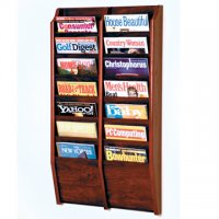 14 Pocket Wall Mount Magazine Rack - Mahogany