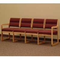 Office Waiting Room Four Seat Sofa - Light Oak - Cabernet Burgundy